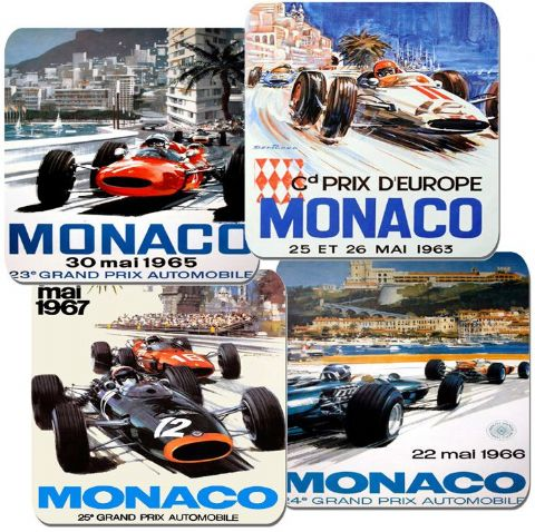 Monaco Grand Prix 1960's Motor Racing Poster Coasters Set Of 4 High Quality Cork